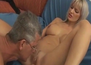 Teen blonde with bangs banged by her father