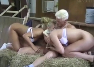Pigtailed blonde enjoys licking mom's pussy