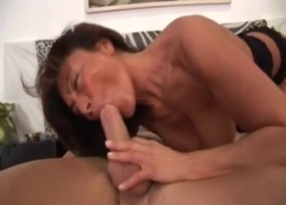 Short-haired MILF fucking her mature brother