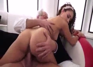 Curly chick doesn't mind taking daddy's dick