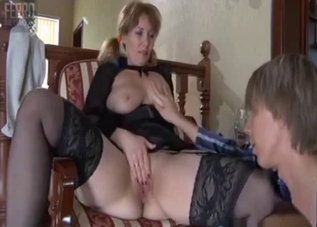 Mommy with stockings cock-slapped by her son