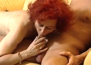 Curly redhead in white lingerie fucks her son