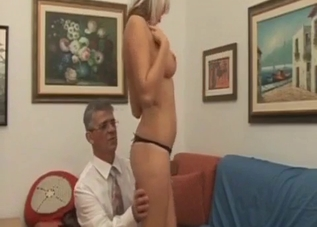 Dress-wearing blonde ravaged by her dad