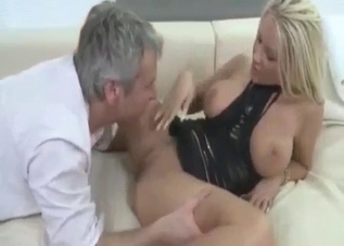 Tanned blonde boned by her aggressive dad