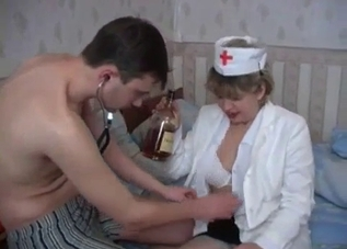 Nurse mommy fucking her boozed-up son