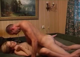 Blonde molested by her skinny father