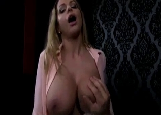 Blouse-wearing blonde sucking cock in POV