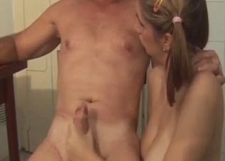 Pigtailed cutie rides her dad's massive cock