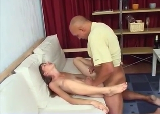Pink pussy brunette molested by her daddy