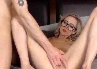 Glasses-wearing blonde finger-raped by her brother